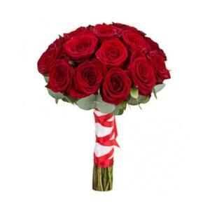 букет для невесты из алых роз