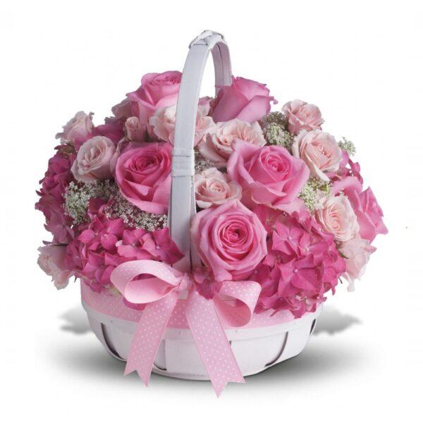 композиция розовых роз в корзине