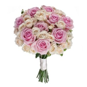 розово-кремовый свадебный букет