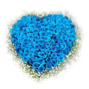 сердце из голубых роз